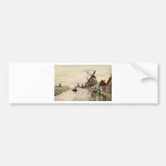 Windmills in Holland by Claude Monet Bumper Sticker