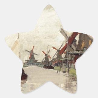 Windmills in Holland by Claude Monet Star Sticker