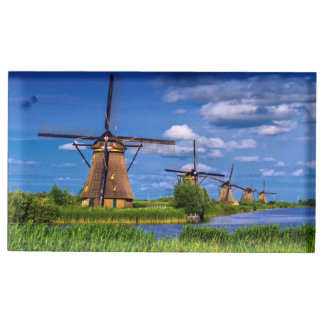 Windmills in Kinderdijk, Holland, Netherlands Place Card Holder