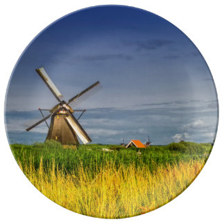 Windmills in Kinderdijk, Holland, Netherlands Plate
