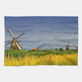 Windmills in Kinderdijk, Holland, Netherlands Tea Towel