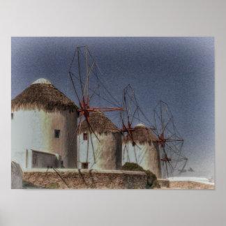 Windmills in Mykonos, Greece Poster