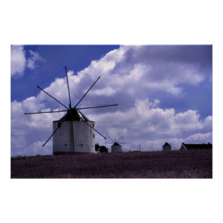 Windmills in Portugal Poster