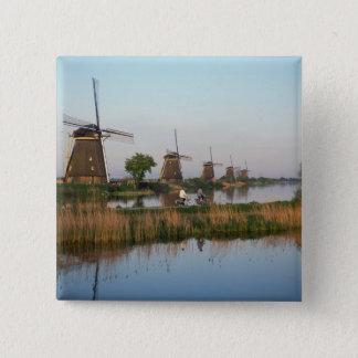 Windmills, Kinderdijk, Netherlands 15 Cm Square Badge