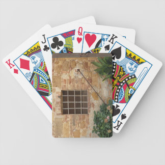 Window and ancient stone wall, Pienza, Italy Bicycle Playing Cards