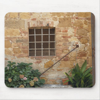 Window and ancient stone wall, Pienza, Italy Mouse Pad