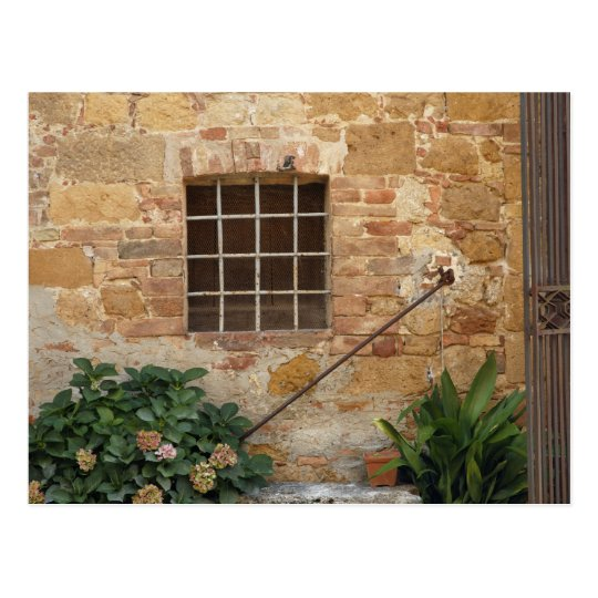 Window and ancient stone wall, Pienza, Italy Postcard