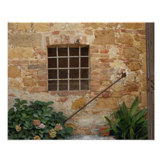 Window and ancient stone wall Pienza Italy Poster