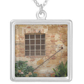 Window and ancient stone wall, Pienza, Italy Silver Plated Necklace