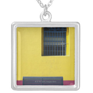 Window and Bench Silver Plated Necklace