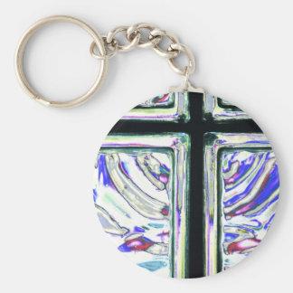 Window Art Cross 2 Basic Round Button Key Ring