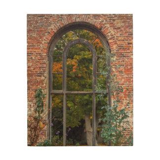 window autumn trees landscape photograph wood wall art