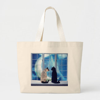 Window Cats Large Tote Bag