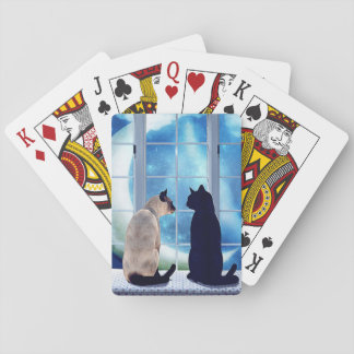 Window Cats Playing Cards