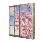 Window Cherry Blossom Tree Canvas Print
