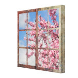 Window Cherry Blossom Tree Gallery Wrapped Canvas