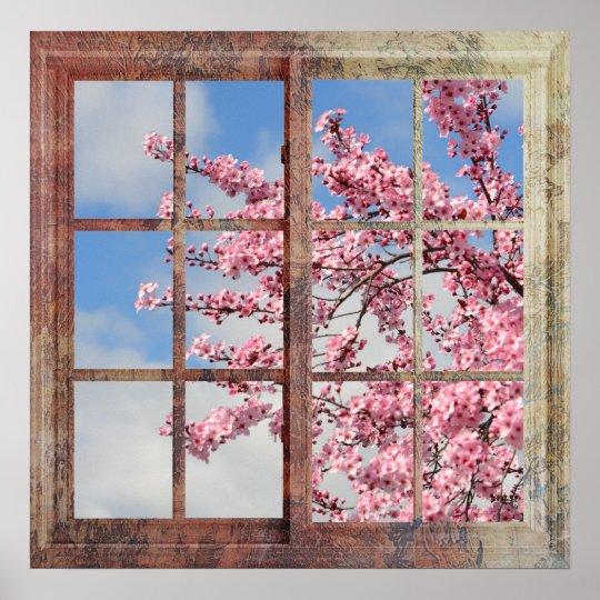 Window Cherry Blossom Tree Poster