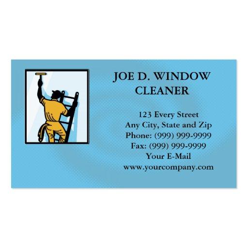 Window cleaner worker cleaning ladder retro business card for Window cleaning business cards