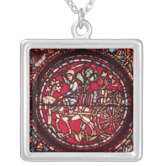 Window depicting a wine merchant silver plated necklace
