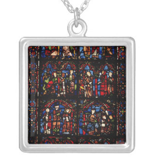 Window depicting scenes silver plated necklace