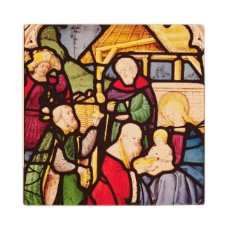 Window depicting the Adoration of the Magi Wood Coaster