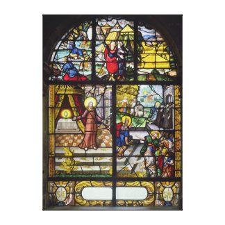 Window depicting the Gathering of the Manna Canvas Print
