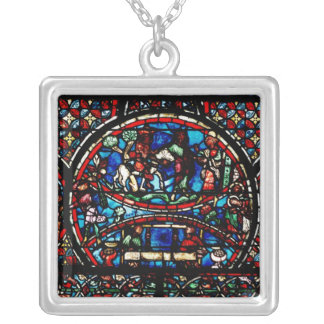 Window depicting the Good Samaritan Silver Plated Necklace