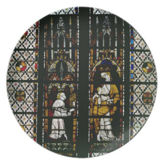 Window depicting the Virgin and Raoul de Ferrieres Party Plates