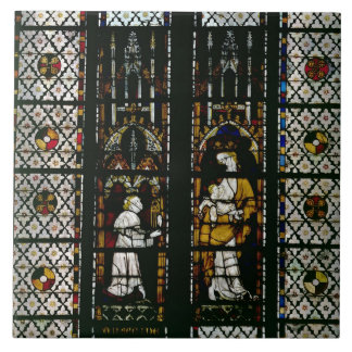 Window depicting the Virgin and Raoul de Ferrieres Tile