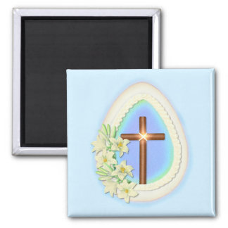 Window Egg and Cross Square Magnet