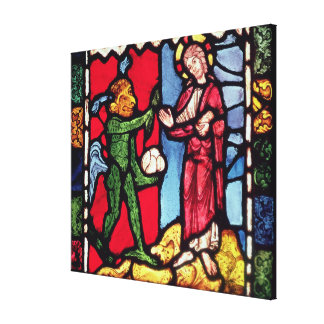 Window from Troyes Cathedral showing the Temptatio Gallery Wrap Canvas