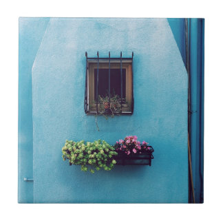 Window Garden on Blue Small Square Tile