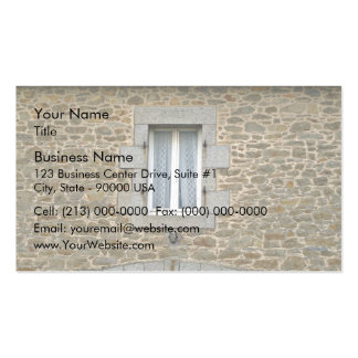 Window In Rough Stone Wall With Lace Curtains Business Card Templates