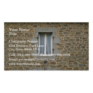 Window In Rough Stone Wall With Lace Curtains Business Card Template