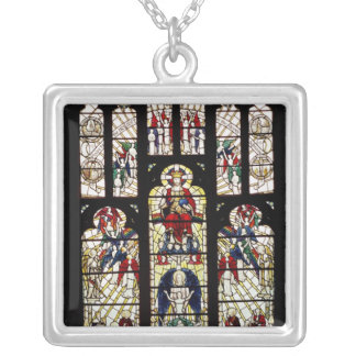 Window in Worcester Cathedral, 15th century Silver Plated Necklace