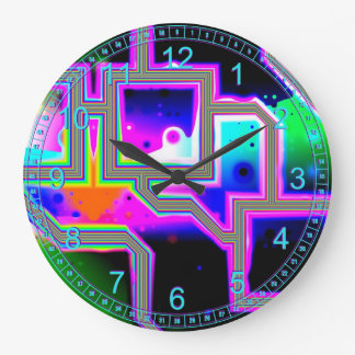 Window into the Universe – Magenta & Cyan Abstract Clock