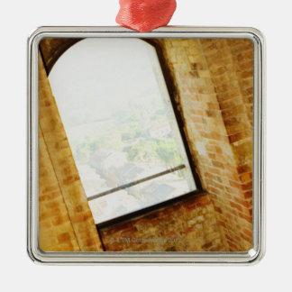 Window of a building, La Rognosa, San Gimignano, Silver-Colored Square Decoration