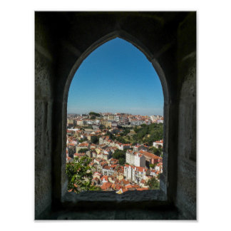 Window of Sao Jorge Castle, Portugal - Poster