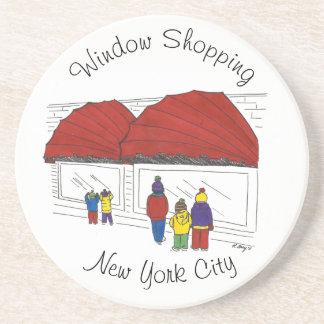 Window Shopping NYC New York City Christmas Xmas Coaster