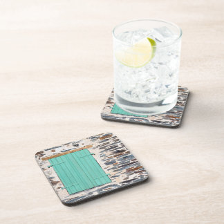 Window Shutters on a Rustic Rock Wall Coasters