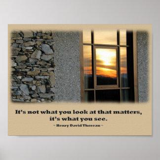 Window Sunset Reflection - Thoreau quote Posters