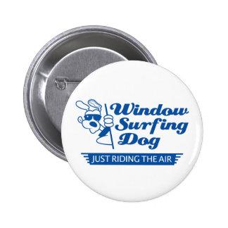 Window Surfing Dog 2 6 Cm Round Badge