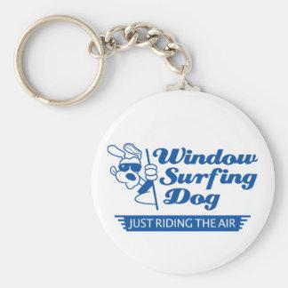 Window Surfing Dog 2 Basic Round Button Key Ring
