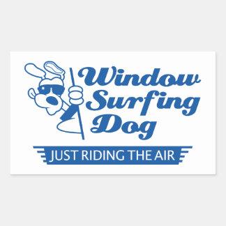 Window Surfing Dog 2 Rectangular Sticker