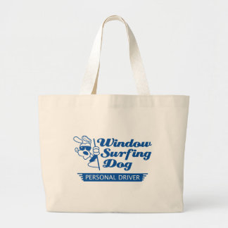Window Surfing Dog Canvas Bags