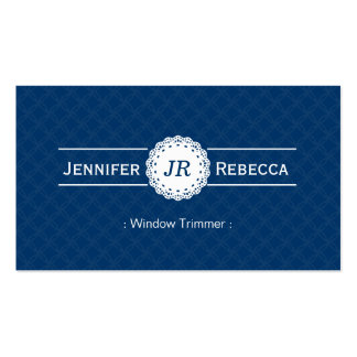 Window Trimmer - Modern Monogram Blue Business Card Template