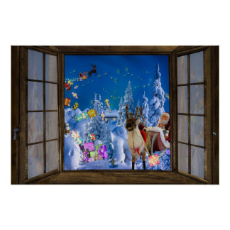 Window View Christmas Poster