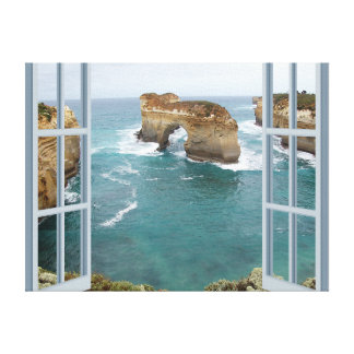 Window View Ocean Canvas Print