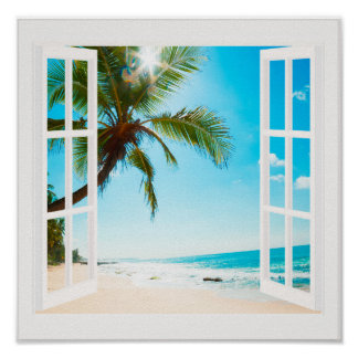 Window with Beach and Ocean Custom Sizes! Poster