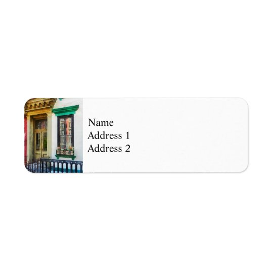 Window With Reflections and Windowbox Return Address Label